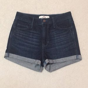 HOLLISTER dark wash high rise shorts
